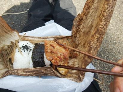 ウラジロシダの箸でお昼ご飯